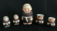 Goebel Monk / Friar Tuck 5 items Lidded Jar/Salt/Pepper/Creamer/Toothpick Holder