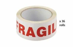 6 Rolls of Fragile Tape 48mm X 66m Long Length Packing Parcel
