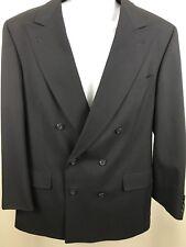 Burberrys Mens Double Breasted Wool Blazer Sport Coat Jacket Navy Blue Size 42L