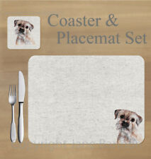Border terrier,  placemat and coaster set    by Jane Bannon