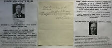 GILDED AGE SPEAKER OF THE US HOUSE CONGRESSMAN ME REED LETTER SIGNED - PRESIDENT
