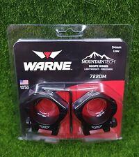 Warne MountainTech 34mm Low Lightweight Precision Scope Rings, Black - 7220M