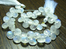 AAA 15 Pc Rainbow Moonstone 9X9 mm Faceted Heart Shape Briolettes Loose Gemstone