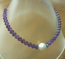 12.6mm!! SOUTH SEA PEARL NECKLACE 100% UNTREATED+AMETHYSTS+18ct GOLD CLASP +CERT