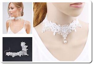 Costume Collana Collare Dirndl a Punta Perle Imitazione Bianco Viktorian