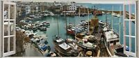 Huge 3D Panoramic Kyrenia Harbor Window View Wall Stickers Mural 548