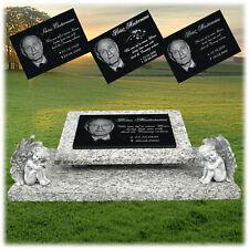 Granit Grabplatte Grabmal Gedenkstein 60x40 Foto und Text Gravur Grabstein gg39s