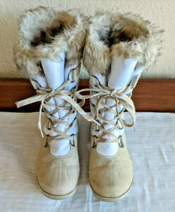 Rugged Outback Women's White & Tan Size 6 Lace Up Faux Fur Winter Snow Boots