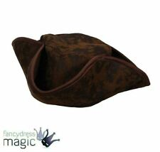 Mens Ladies Caribbean Brown Pirate Hat Fancy Dress Accessory Tricorn Buccaneer