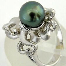 925 Silver Green Pearl Women Jewelry Ring Wedding Engagement GIft Size 6-10