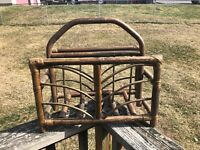Vintage Bent Wood Magazine Rack Holder Stand Carrier Rustic Cabin Bamboo/ Rattan