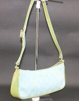 374ae897adb19f Auth Gucci gg pattern canvas Leather aqua lime ladies shoulder bag purse  Italy