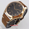 42MM PARNIS Black Dial Date Sapphire Glass Rose Movement Automatic Men's Watch