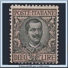1910 Italia Regno L. 10 oliva e rosa Floreale n. 91 Nuovo Integro **