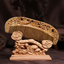 Chinese Natural Green Sandalwood Carved Wooden Fragrant Comb Craft
