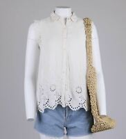 River Island Lace Anglaise Broderie Embroidered Floral Sleeveless Blouse 10