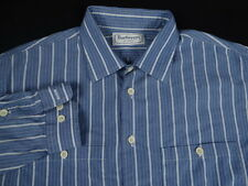 Mens Burberrys of London Blue Striped Button Front Dress Shirt Size 17-32 XL