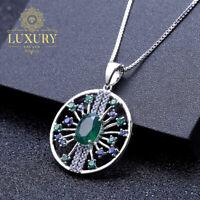 Natural Green Agate Genuine 925 Sterling Silver Vintage Pendant Necklace