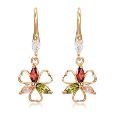 Gift Dangle Flower Rainbow Rhinestone Yellow Gold Filled Hook Earrings 33*12mm