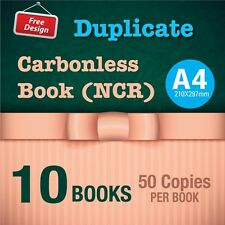 10 x A4 Custom Duplicate Carbonless QUOTE/Tax INVOICE Book + Free Design