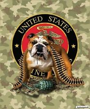 "Signature Plush Soft Queen Size U.S. MARINE CORPS TNT Bulldog Blanket 79""x95"""