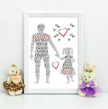 Dad Personalised Gift Daddy Daughter Personalised Gift A4 Print Birthday Gift