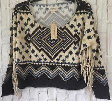 Ralph Lauren Denim & Supply  Brown Southwestern Western Fringe Sweatshirt Top M