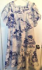 Royal Creations Hawaii Muumuu Dress - White w/ Blue Design - Small Medium