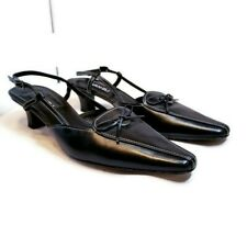 Vaneli Womens Sz 11 N Black Leather Pointed Toe Slingback 2