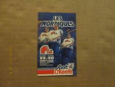 NHL Quebec Nordiques Vintage Defunct Circa 89-90 Logo Hockey Pocket Schedule