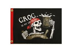 "Pirate Flag: Grog Skeleton is my Co-Pirate 12"" x 18"" Rum Runner Fade Resistant"