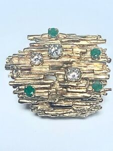 Unique 14k Gold Ring with Emerald and Diamond Stones 22g