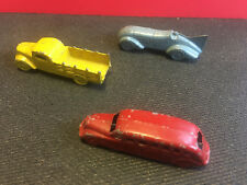 "Old Vtg Tootsie Toy Lot of 3 2"" Mini Cars and Truck Red, Yellow & Blue"