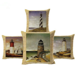 Oil Painting Lighthouse Series Printed Sofa Cushion Cover Home Decor Houseware