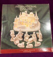 International Bazaar Lighted 11 pc Nativity Set Christmas Holiday White NIB