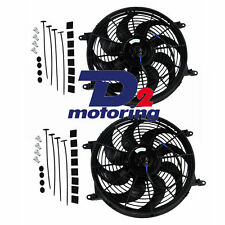 "2x 14"" 12V PULL PUSH RADIATOR ELECTRIC THERMO CURVED BLADE COOLING FANS"