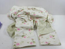 Fadfay Pink Rosette Green Grid Duvet Cover Set Queen Size 3-Pieces