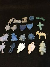20 Vtg. Penny Gum Ball Machine Charms/ Blue Plastc/ From The 50's