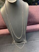 Vintage signed Sarah Coventry Silver Long  Silver Tone 2 Chain necklace 36""