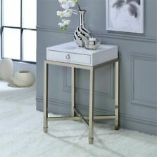 ACME Belinue End Table in White and Brushed Nickel