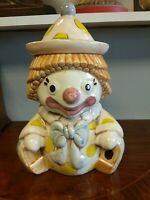 Vintage Collectible Treasure Craft Happy Clown Ceramic Cookie Jar 1969 made USA