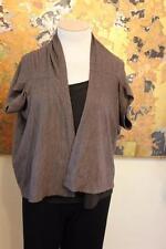 Cut Loose Soft brown Short Sleeved Lagenlook Shrug Open Front Jacket L-XL