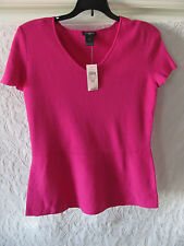 Ann Taylor V-Neck Sweater-Flare-Cap Sleeve -Cotton Blend- Pink-Petite M -NWT $59