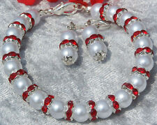 Armband Ohrringe weisse Glasperlen rote Kristall Rondelle Hochzeit Abendkleid