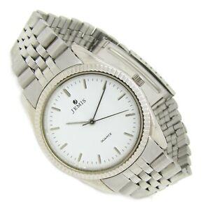 JEMIS klassische Herren Armbanduhr Edelstahl Silber weiß Retro Vintage s172