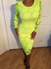 Connie's Floral design Stretch Lace Long SleeveNeon Yellow Midi Dress S