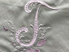 A+ Vintage White Hankie Madeira Style Hand Embroidered Pink Monogram T Rose Buds