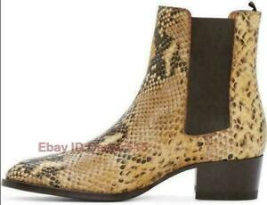 Mens Chic Snake Skin Pattern Pointy Chelsea Ankle Boots Leather Toe Formal Shoes