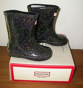 HUNTER Kids First Classic Starcloud Rain Boots Black Multi Sz US 7B/8G NIB