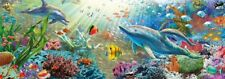 Panorama Jigsaw Puzzle 1000 Piece Oceanscape Water Paradise Fish Dolphins Jumbo